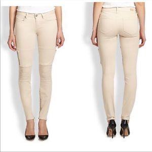 PAIGE Demi Zip Moto Skinny Jeans in Shell Size 32